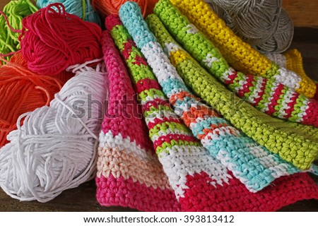 Old Handstitched Braided Rag Rug Material Stock Photo
