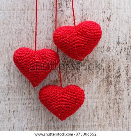 Crochet valentine hearts - stock photo