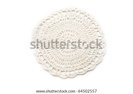 Crocheted lace isolated on white - stock photo