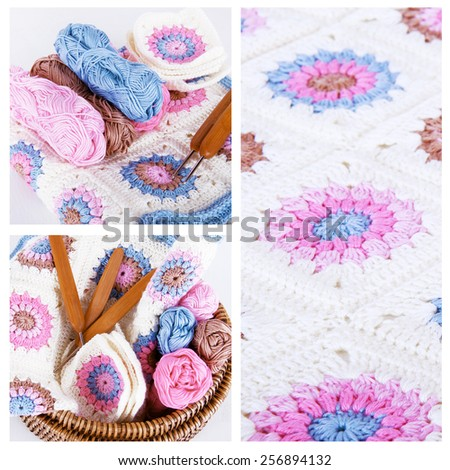 Crocheting collage in pink and blue colors with granny square blanket - stock photo