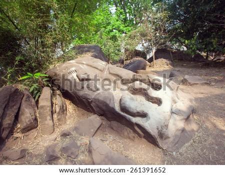 Crocodile in Wat Phu Champasak temple in Laos - stock photo