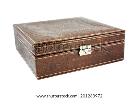 Crocodile leather brown box. Isolated on white background with clipping path. - stock photo