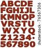 Crocodile leather font - on white background - stock photo