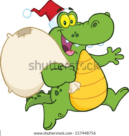 Crocodile Santa Cartoon Mascot Character Running With Bag. Raster Illustration - stock photo
