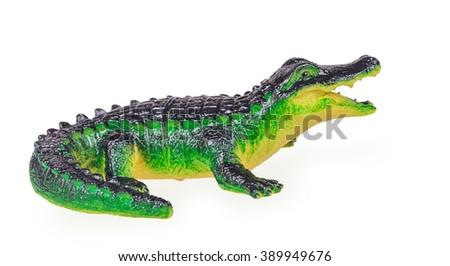 Crocodile toy  isolated on white background - stock photo