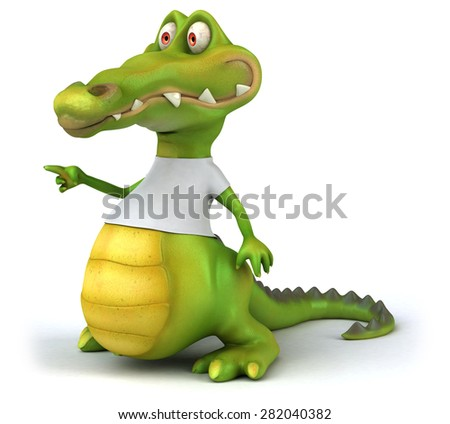Crocodile with a white tshirt
