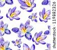 crocus flowers. watercolor pattern - stock photo
