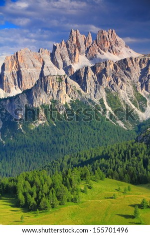 Croda di Lago as seen from Cinque Torri, Dolomite Alps, Italy - stock photo