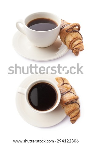 Croissant and cup of coffee composition isolated over the white background, set of two different foreshortenings