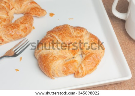 Croissant bun - stock photo