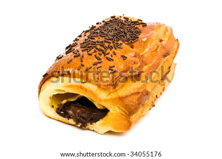 croissant filled with chocolate - stock photo