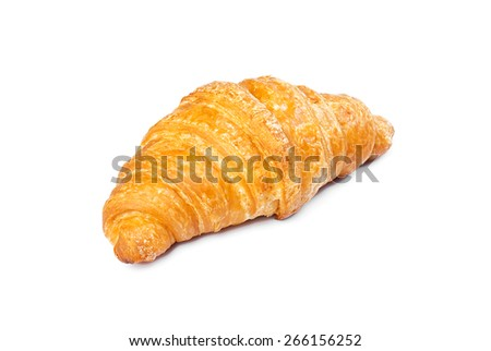 Croissant isolated on white - stock photo