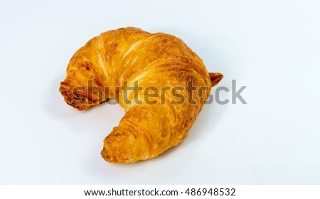 Croissant on a white background scene