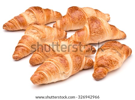 Croissant or  crescent roll isolated on white background cutout - stock photo