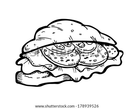 croissant sandwich doodle  - stock photo