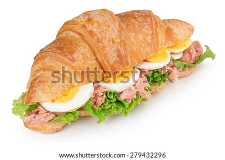 croissant sandwich with egg and tuna isolated on white - stock photo