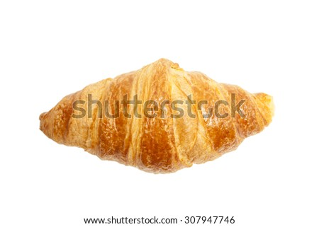 Croissant top view isolated - stock photo