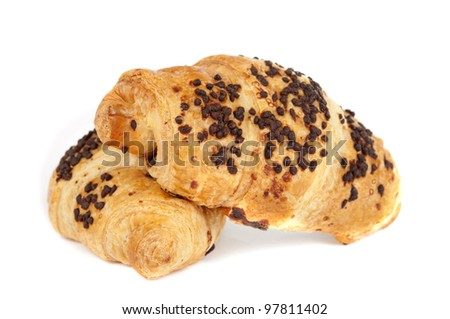 croissant with chocolate isolated on white background - stock photo