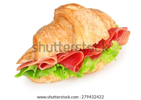 croissant with parma ham and lettuce isolated on white - stock photo