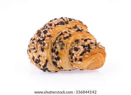 Croissant with sesame isolated on white background