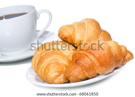 croissants and coffee on white background