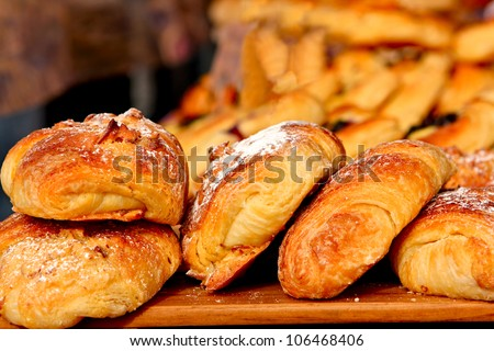 Croissants - fresh from the oven - stock photo