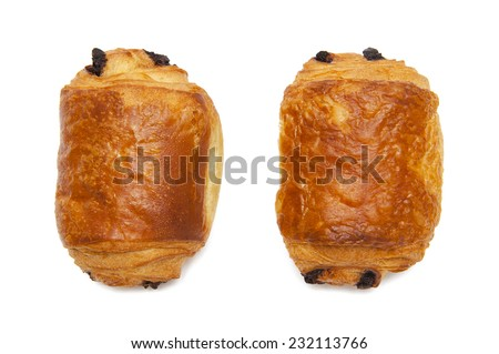 Croissants with chocolate - stock photo