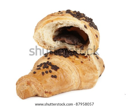 croissants with chocolate on a white background - stock photo