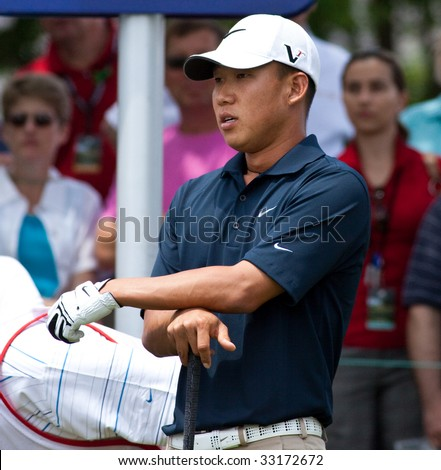 CROMWELL, CT - JUNE 27: Golfer Anthony Kim waiting to tee off at the Travelers Championship at TPC River Highlands Golf Course on June 27, 2009 in Cromwell, CT