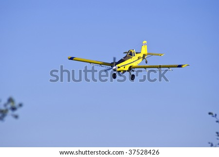 Crop-duster coming in for another pass at a cornfield while spraying the crop.