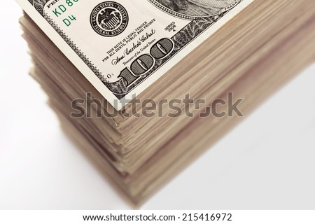 Crop of dollar banknotes - stock photo