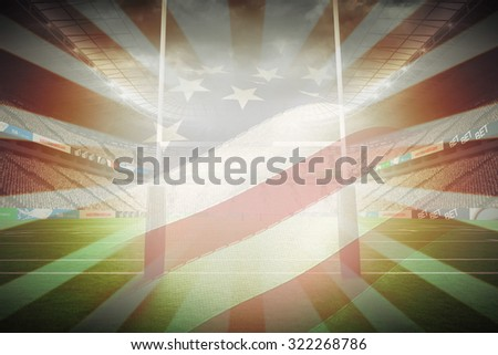 Cropped American flag against linear design - stock photo
