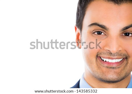 Cropped close up portrait of a charming man in a business suit, isolated on a white background - stock photo