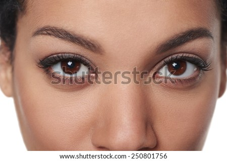 Cropped closeup image of breathtaking female brown eyes staring at you - stock photo