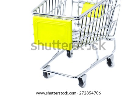 cropped front view shopping trolley, isolated on white background - stock photo