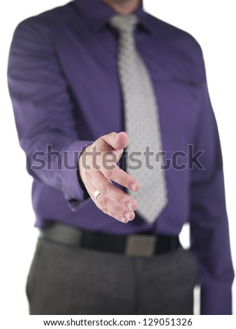Cropped image of a doctor gesturing hand shake over white background, Model: Derek Gerhardt - stock photo