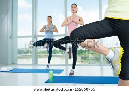 Cropped image of aerobic girls in the Vrikshasana posture on the foreground - stock photo