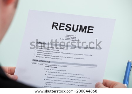 cropped image businessman reading resume office stock photo royalty
