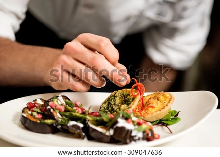 Cropped image of chef garnishing delicious dish - stock photo
