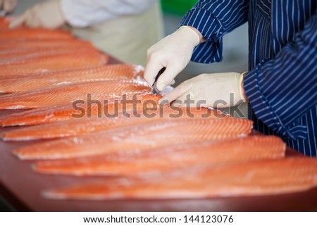 Cropped image of male workers cutting fishes with knife at table - stock photo