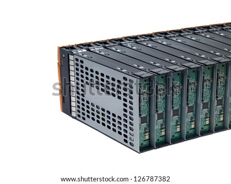 Cropped image of network server box in a macro shot. - stock photo