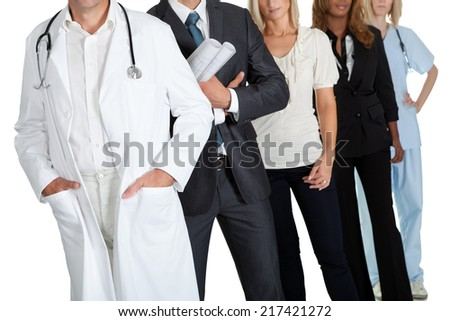 Cropped image of people with different occupations on white background - stock photo