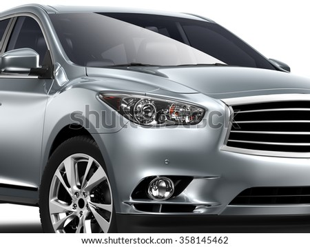 Cropped Image Of silver Car on white background - stock photo