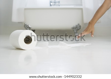 Cropped image of woman's hand reaching tissue paper in bathroom - stock photo