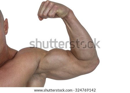 Cropped muscular man flexing bicep against white background