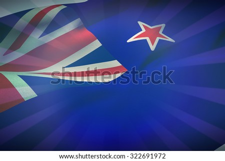 Cropped New Zealand flag against blue background - stock photo