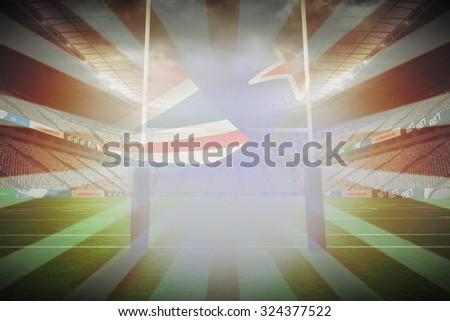 Cropped New Zealand flag against linear design - stock photo