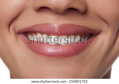 Cropped of beautiful young woman smile. Dental health. - stock photo