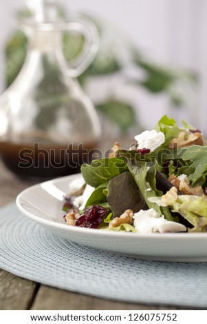 Cropped Plate Of Salad With Worcestershire Sauce Bottle At The Background
