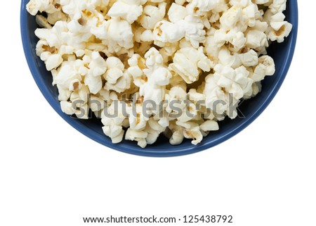 Cropped Popcorn in a blue bowl isolated in a white background - stock photo